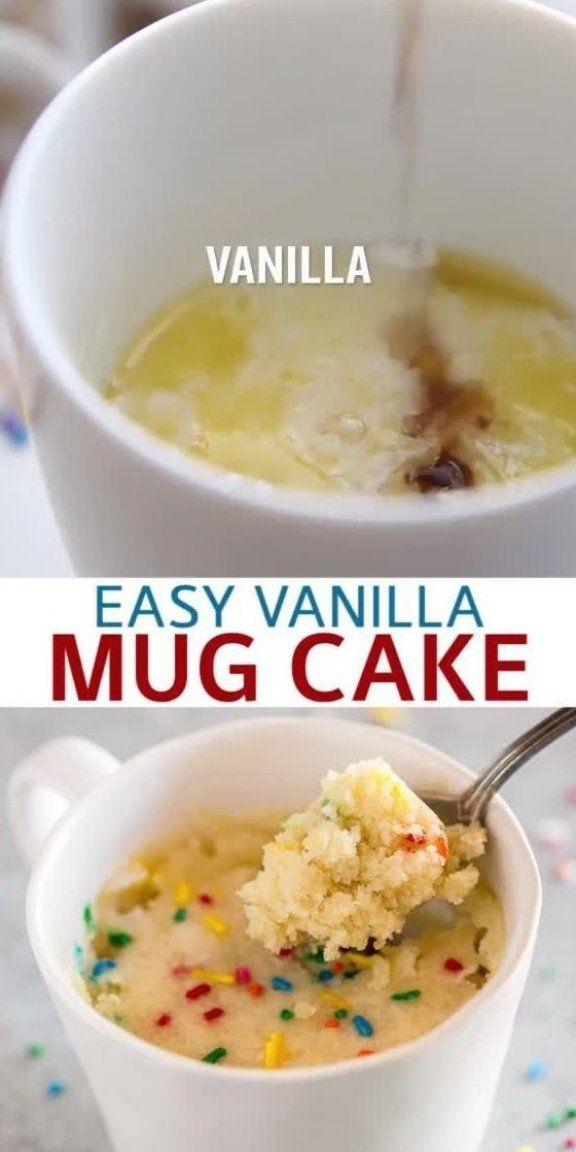 An easy microwave Vanilla Mug Cake made without eggs that ...