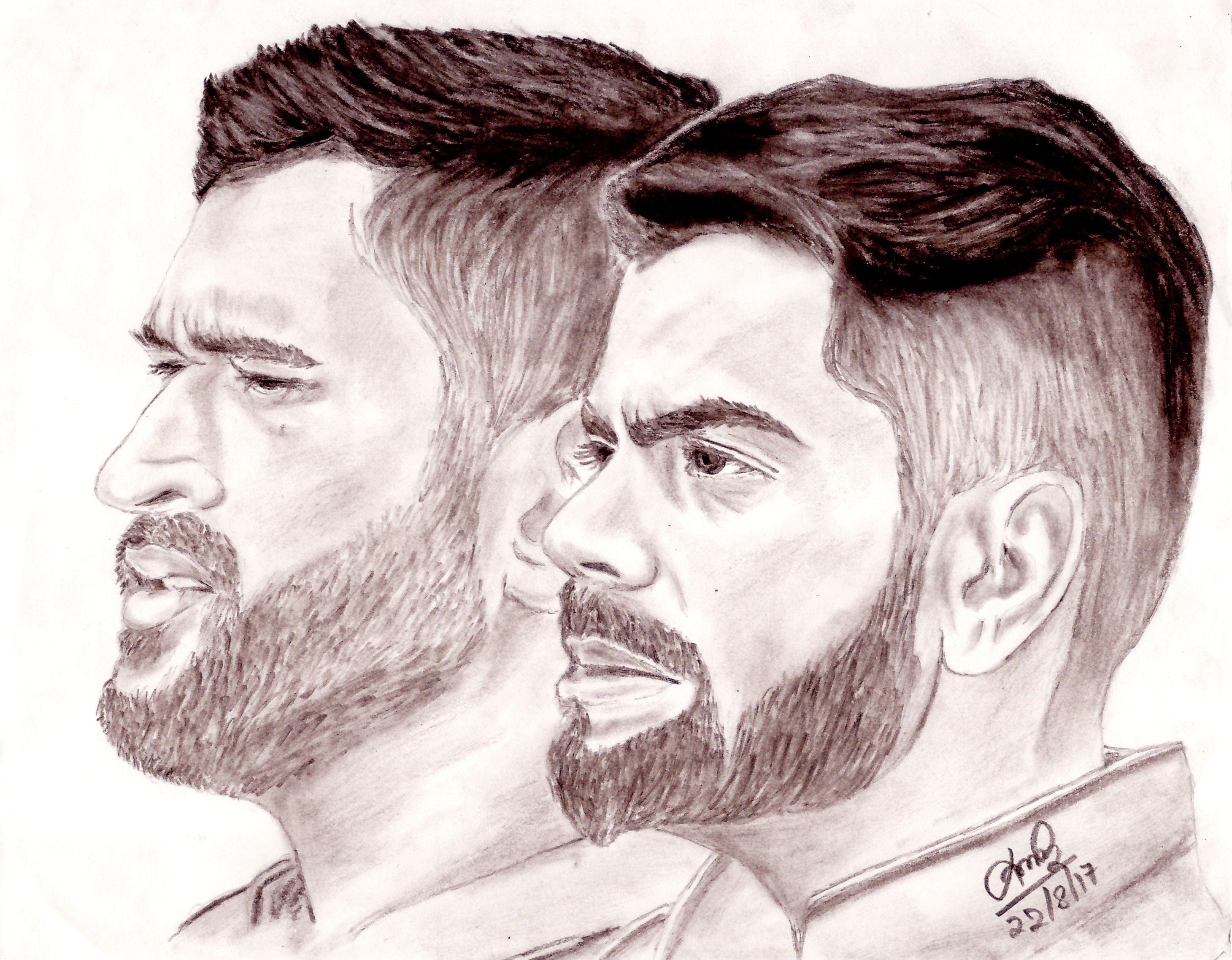 M s dhoni virat kohli sketch msd