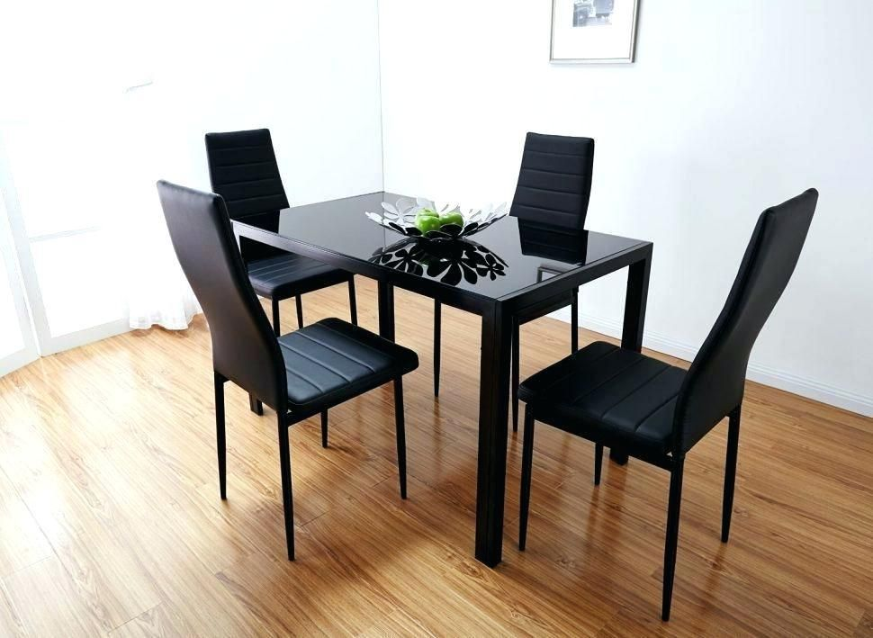 Affordable Kitchen Furniture Rectangle Glass Dining Table Black