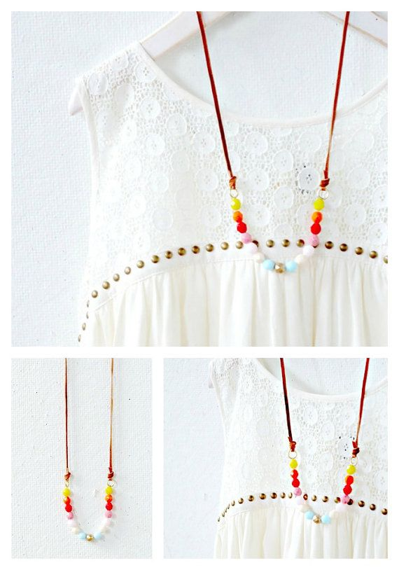 Colorful Bead Strand and Leather Necklace by NestPrettyThingsShop