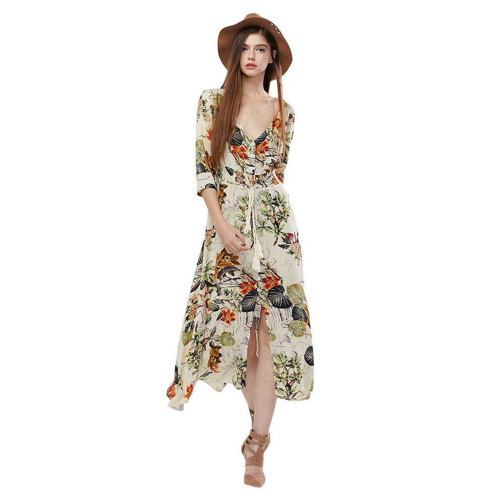 Click to buy ucuc zaful womens spring boho vintage dress three quarter