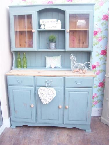 Shabby Chic Solid Pine Welsh Dresser Display Cabinet Painted In Annie Sloan Ebay