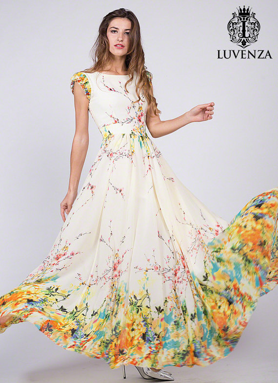 612e20dc416 Sleeveless Light Yellow Chiffon Maxi Dress with Rainbow Floral Print ...