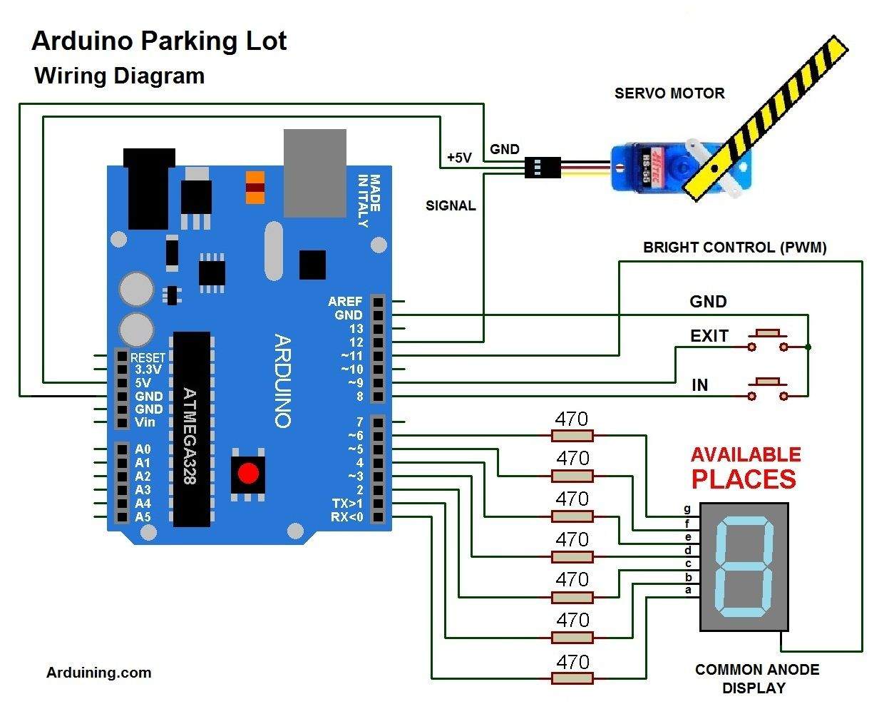 wiring diagram here is the code /parkingl02pde arduining