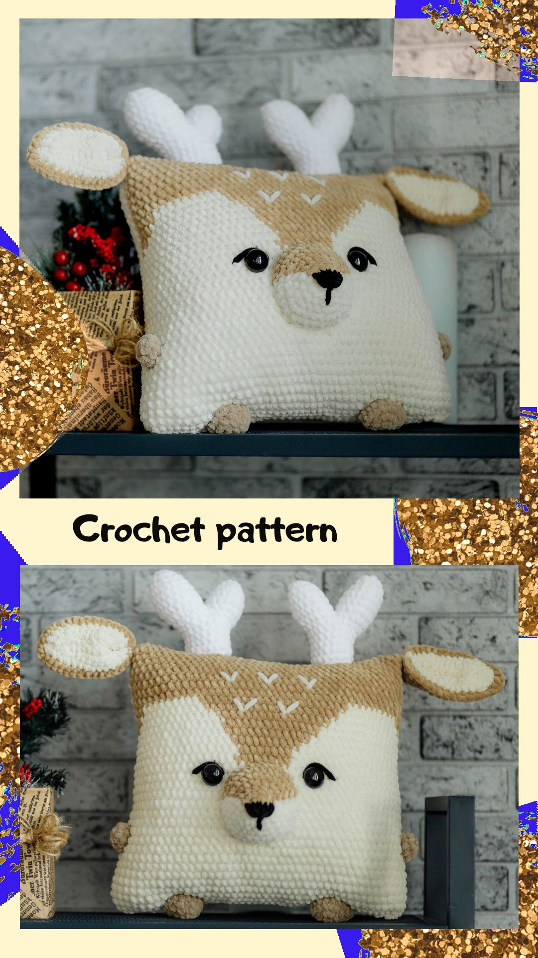 Crochet pattern deer, crochet pillow pattern, crochet raindeer pattern, crochet deer, amigurumi deer