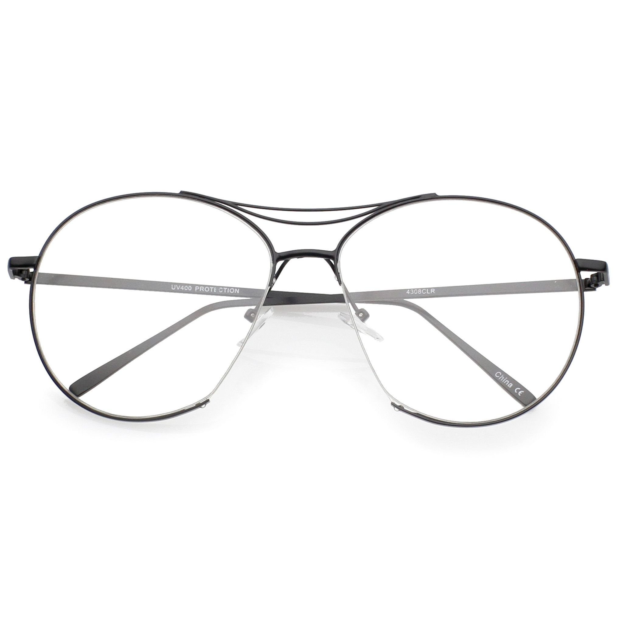 Oversize Retro Modern Clear Lens Aviator Glasses C132