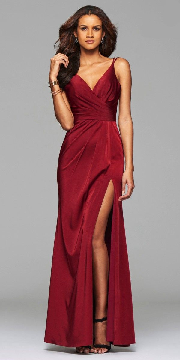 b350a7d221f Sophisticated Long Ruched Dress by Faviana. Colors  Dusty Pink ...