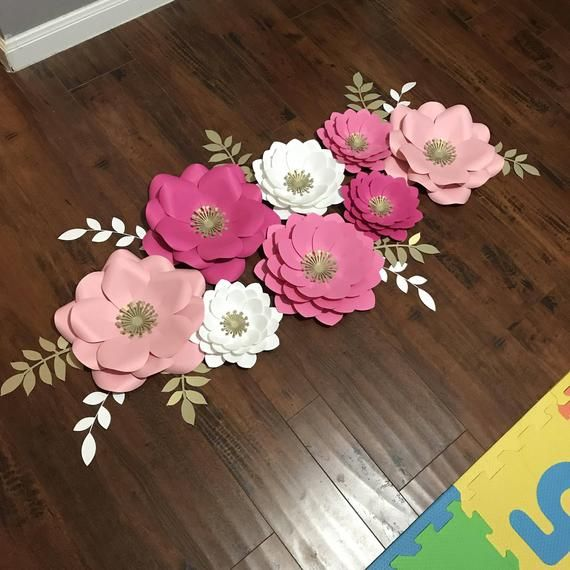 Pink/White/Gold Paper Flower Set 8 Pieces #largepaperflowers