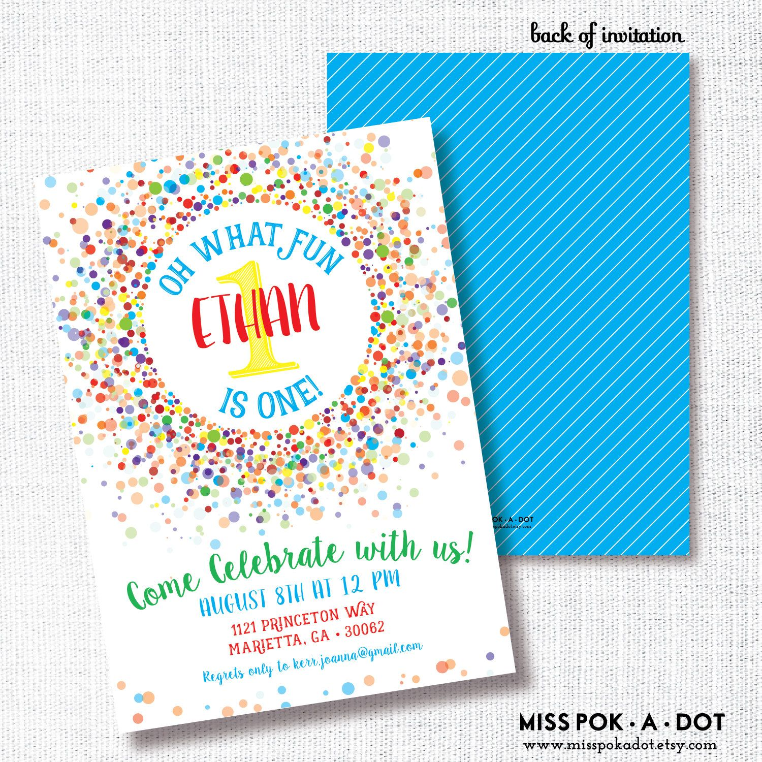 Primary confetti oh what fun first birthday invitation bright primary confetti oh what fun first birthday invitation bright rainbow primary colors confetti birthday party filmwisefo Gallery