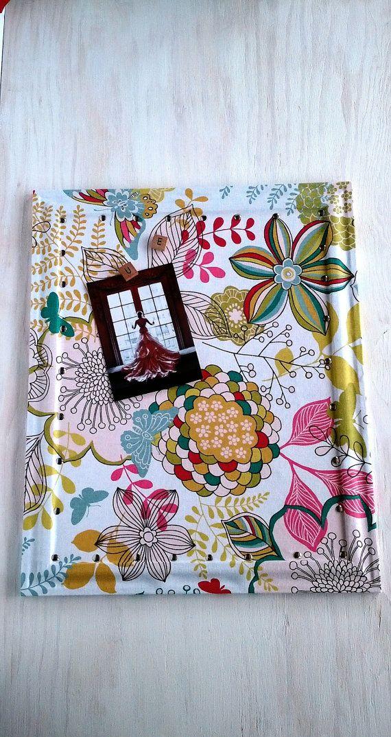 Bright Floral Fabric Cork Board - Framed Cork Board - Bulletin Board ...