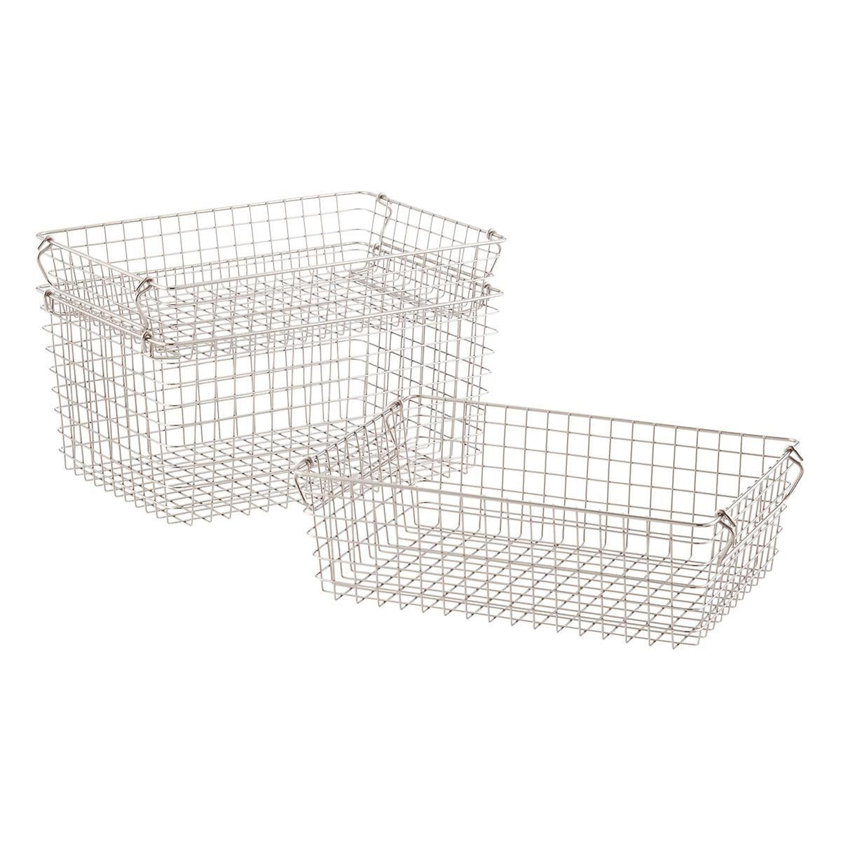 Stackable Wire Storage Baskets with Handles | Container store, Wire ...