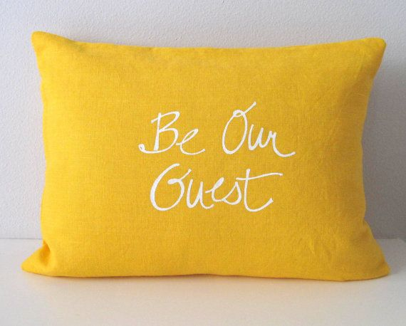 Pillow Cover - Cushion Cover - Be our Guest in White on Mustard Yellow Linen - 12 x 16  inches