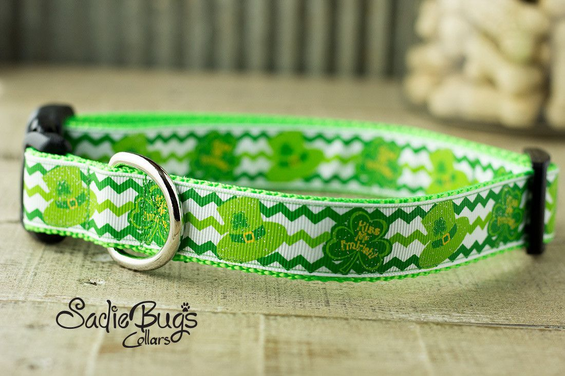 Leprechaun Hat Chevron dog collar - St. Patricks Day
