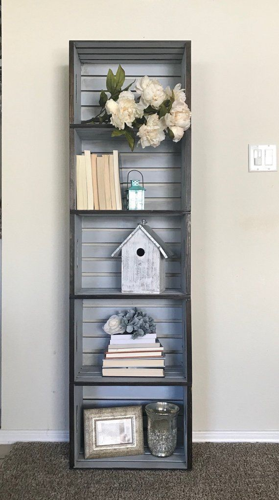 Photo of Items similar to Rustic Chic 5-Crate Shelf, wooden crate shelf on Etsy