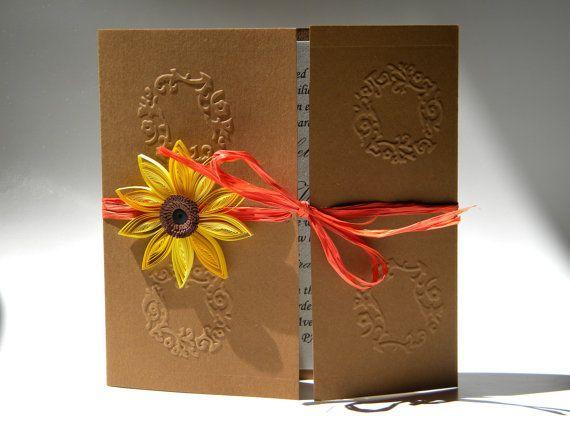 Sonnenblumen Und Orange Einladung / Sonnenblume Orange Wedding / Sonnenblume  Card / Fallen Hochzeit Einladung