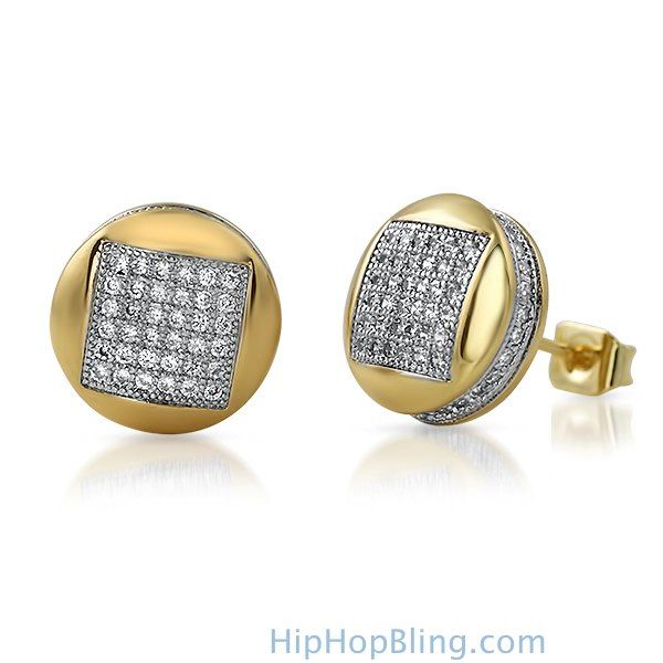 3d28caae6 3D Square in Circle Gold CZ Bling Bling Earrings | Bling bling ...