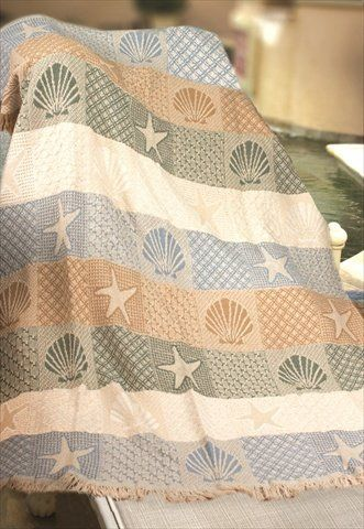Beach Themed Throw Blanket Stunning Seashells By The Seashore Two Layer Woven Throw Blanket USA Made