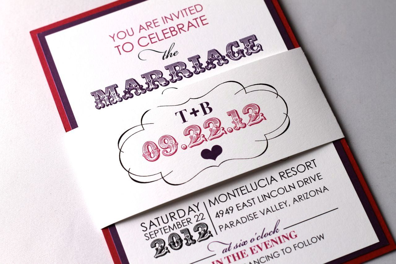 taylor modern wedding invitation with belly band sample hot pink purple and white - Modern Wedding Invitation Wording