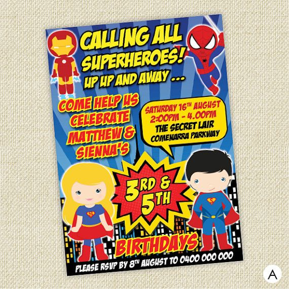 Hey, I found this really awesome Etsy listing at https://www.etsy.com/listing/218383581/superhero-joint-birthday-invitation