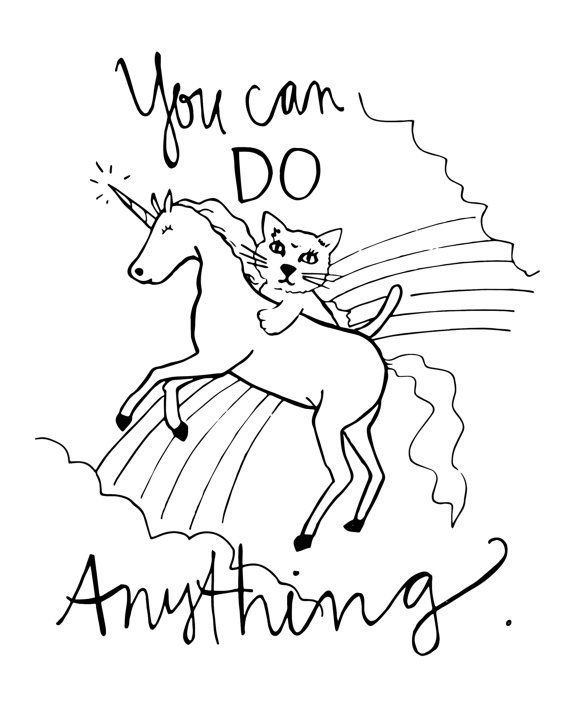 coloring page you can do anything original artwork motivational poster