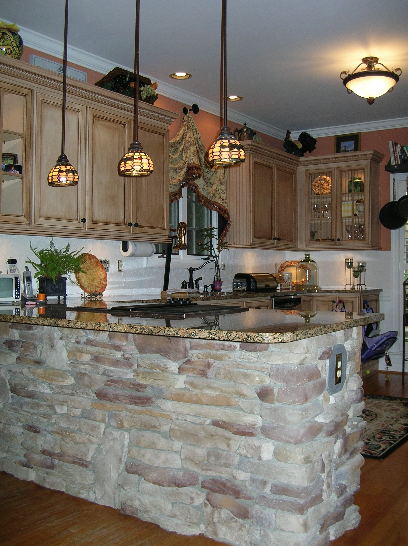 photos of rock and tile on interior kitchen bar Kitchen