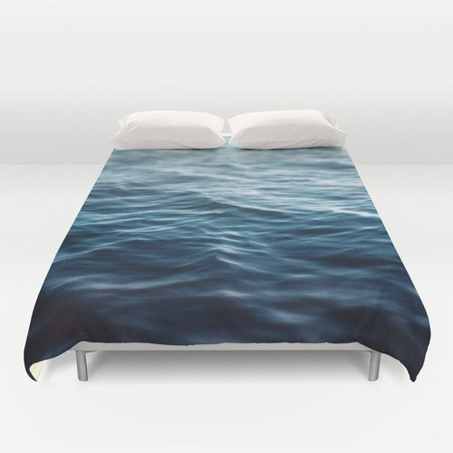Duvet Cover, Deep Ocean Blue Coastal Waters Bedding Cover, Nautical Loft Cottage Home Beach Surf Decor Cobalt Blue Bedroom Accent Interiors