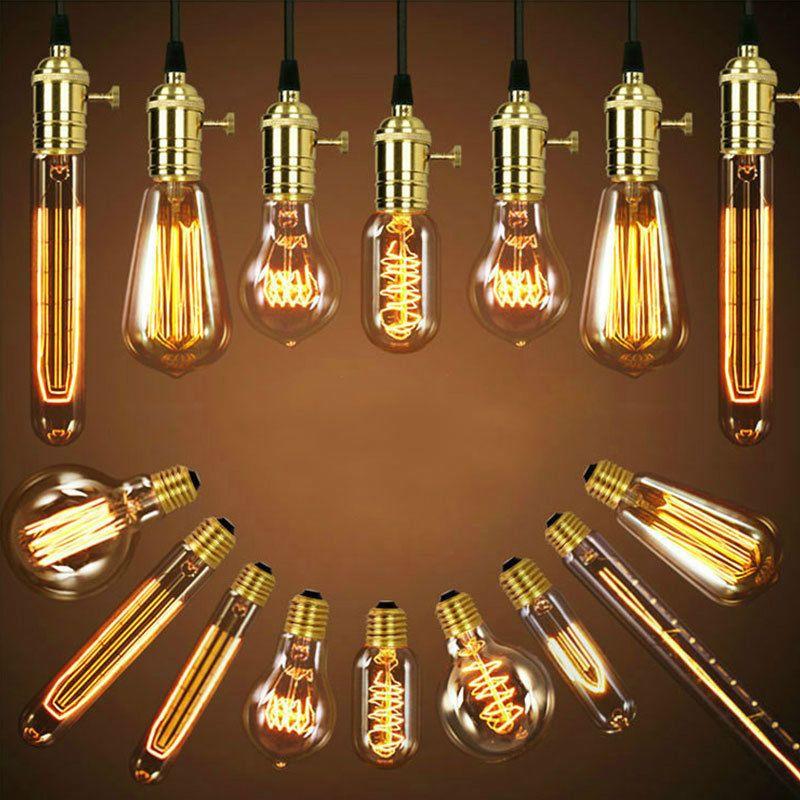 Category E27 40w 220v Edison Led Decorative Light Bulb St58 E27 Edison Light St58 Power 40w Interface E27 Ed Tungsten Light Edison Light Bulbs Light Bulb