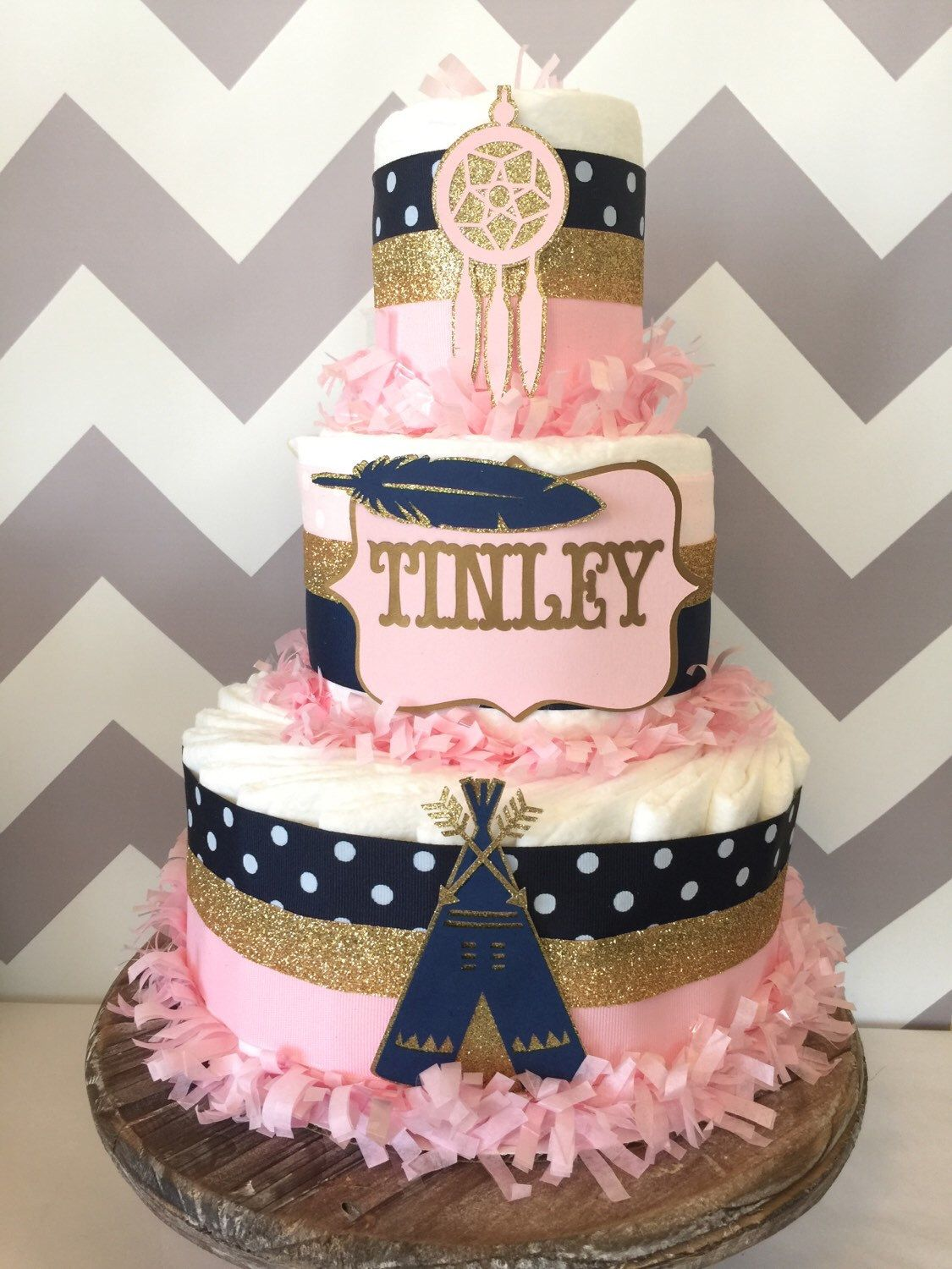 Boho Baby Shower Centerpieces ~ Tribal diaper cake in pink navy and gold aztec baby