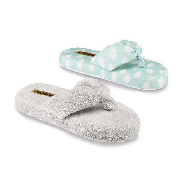 Joe Boxer Women\'s Mellie Blue/Pug Print Thong Slippers | Terry ...