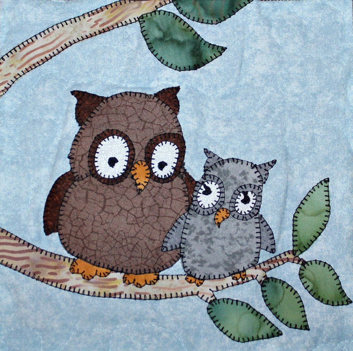 Owl PDF applique quilt block pattern; North American forest or ...