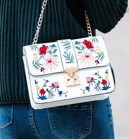 7de461a091ee67 A gorgeous Spring embroidered bag from Miss Selfridge - available in black  too!