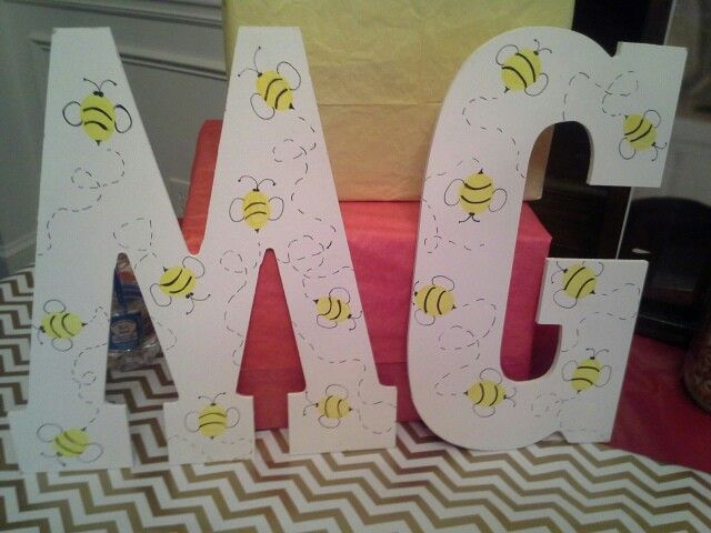 Birthday bee decorated initials
