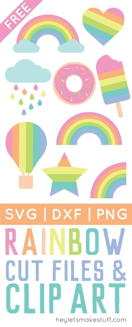 Pastel Rainbow Cut Files + Clip Art – Freebie Friday ...