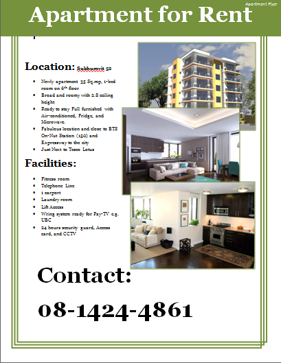 Apartment Flyer Template  Apartment Ad    Flyer