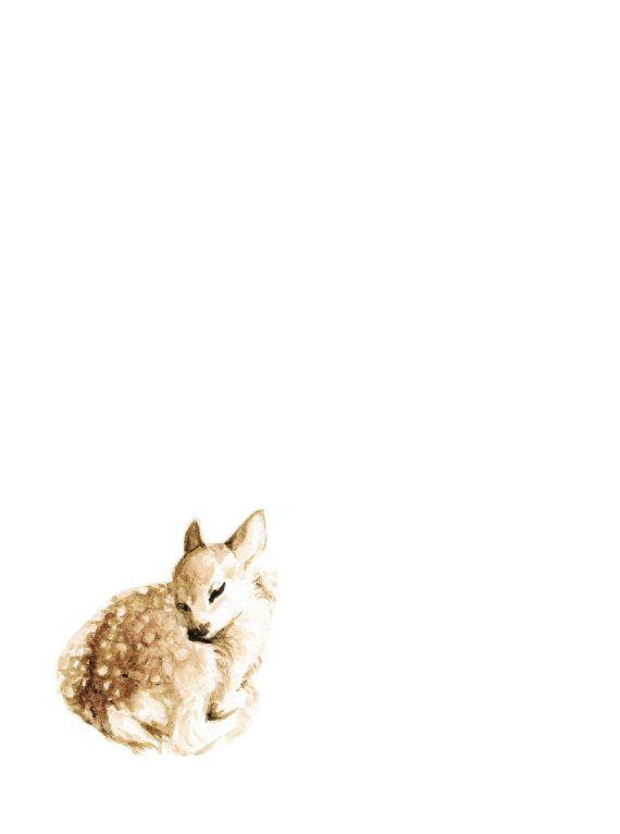 Sleeping Deer Art Print Woodland Animal Painting Baby