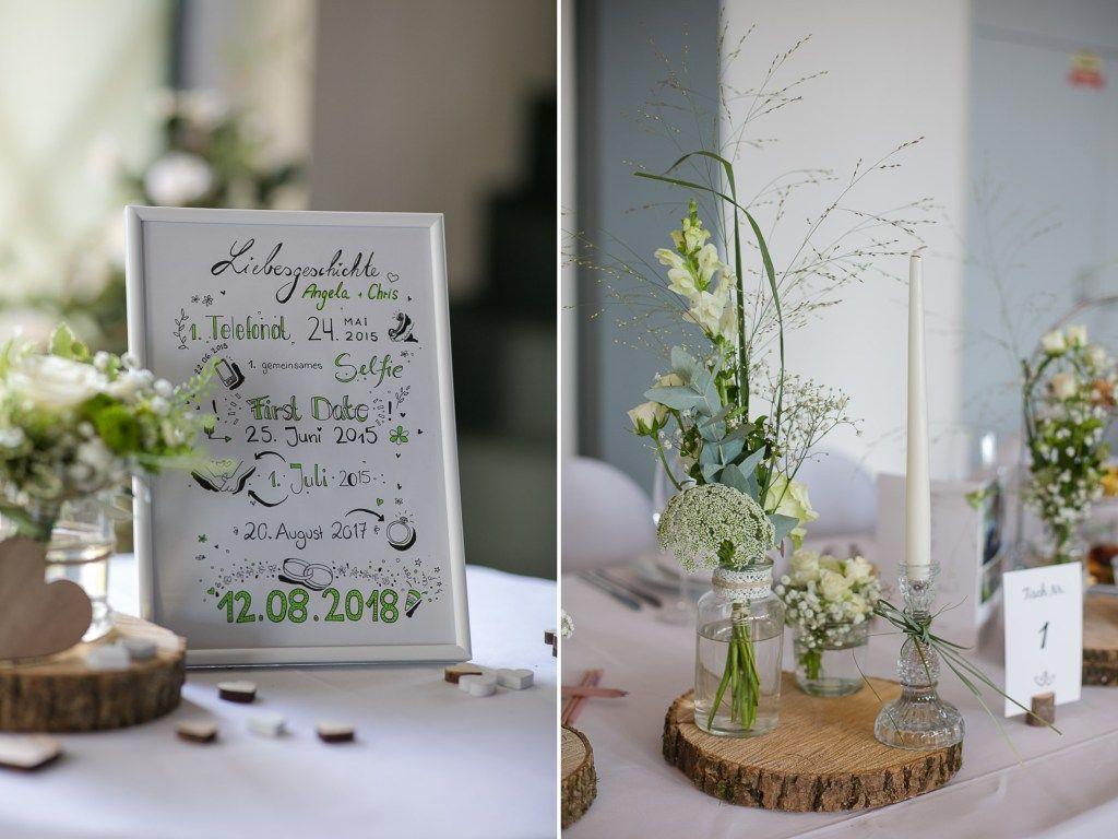 Deko Dekoration Hochzeit Farbkonzept Holz Weiss Grun Naturlich Hochzeit Grun Hochzeit Tischdekoration Hochzeit