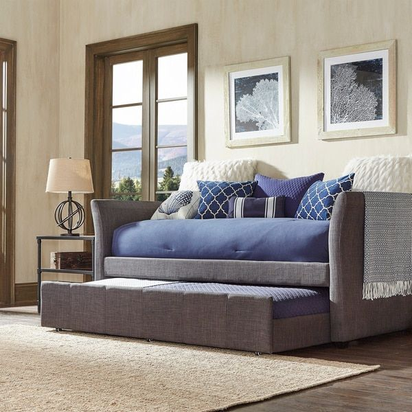 Deco Linen Rolled Arm Daybed and Trundle by INSPIRE Q Overstock