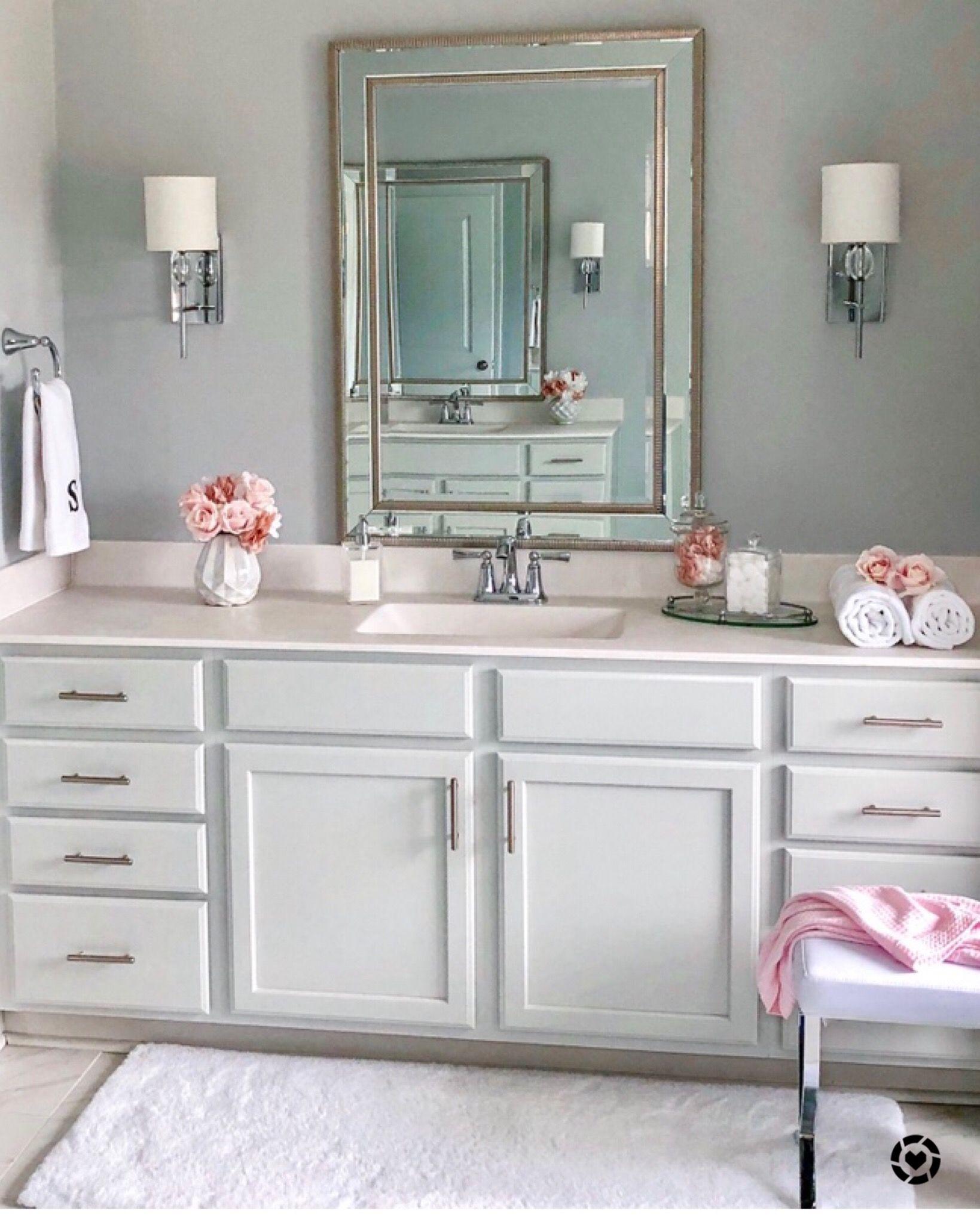 Chic, classy, romantic, grey, white decor. Bathroom, guest