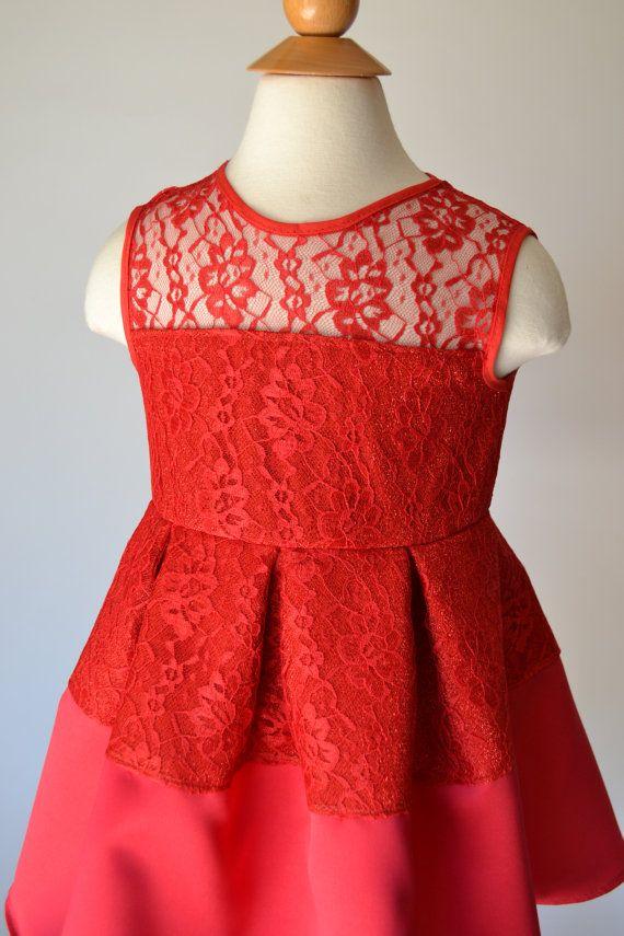 Chicas Encaje Rojo Vestido Rojo Vestido Niñas Vestido Encaje