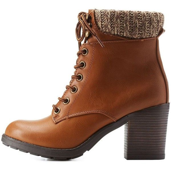 e79cc90c795 Charlotte Russe Cognac Sweater Cuff Lace-Up Hiking Booties by... ( 46