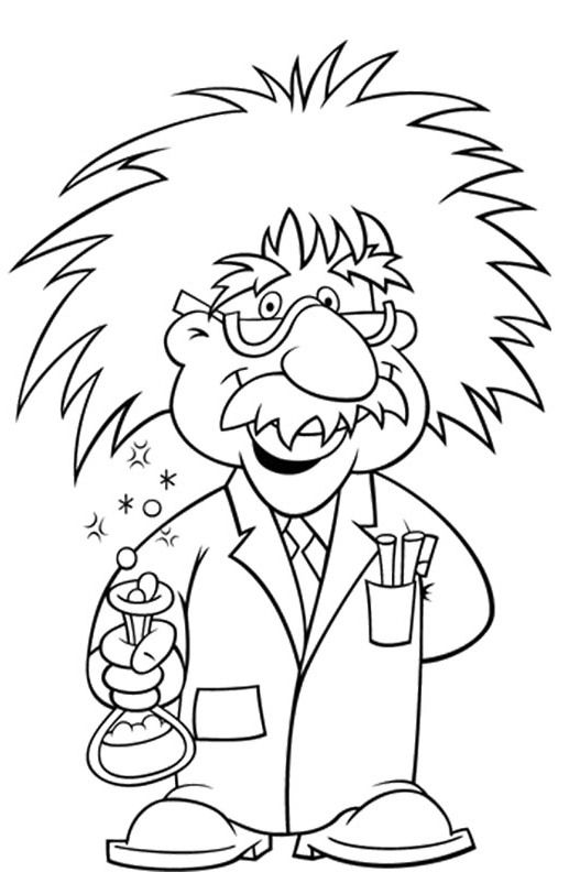 Albert einstein wore glasses coloring printable teaching for Science coloring pages to print