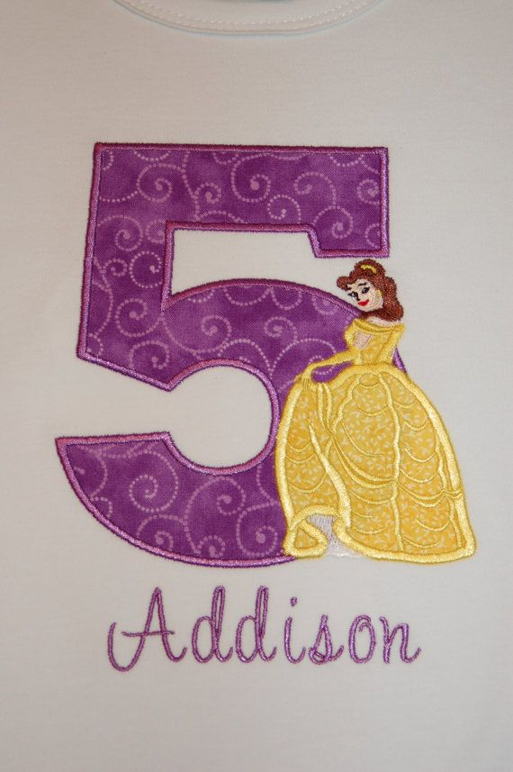 Personalized Applique Birthday Belle Shirt with Name. $21.00, via Etsy.