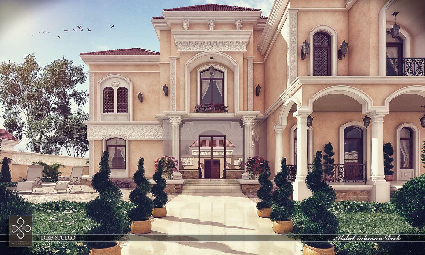 Villa Roman Style Behance Exterior Mediterranean