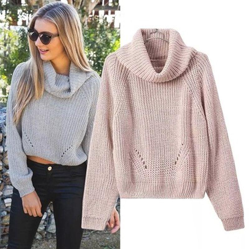 Black White Women Sweater Autumn Winter Turtleneck Sweater Big ...