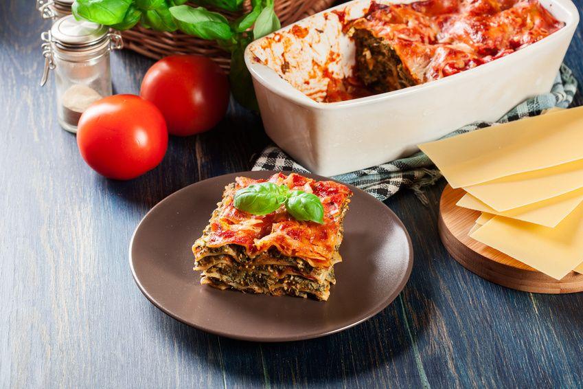 Lasagnes aux épinards et aux tomates