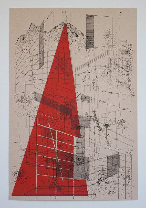 Landscape in lines by benkafton on Etsy, $110.00