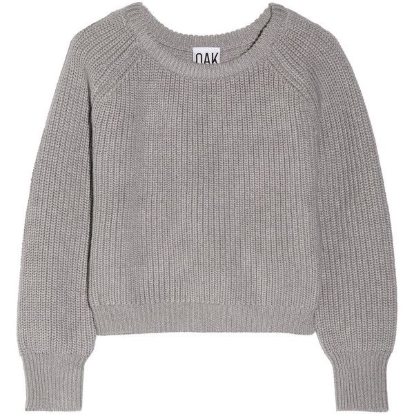 OAK Cropped wool sweater ($102) ❤ liked on Polyvore featuring ...