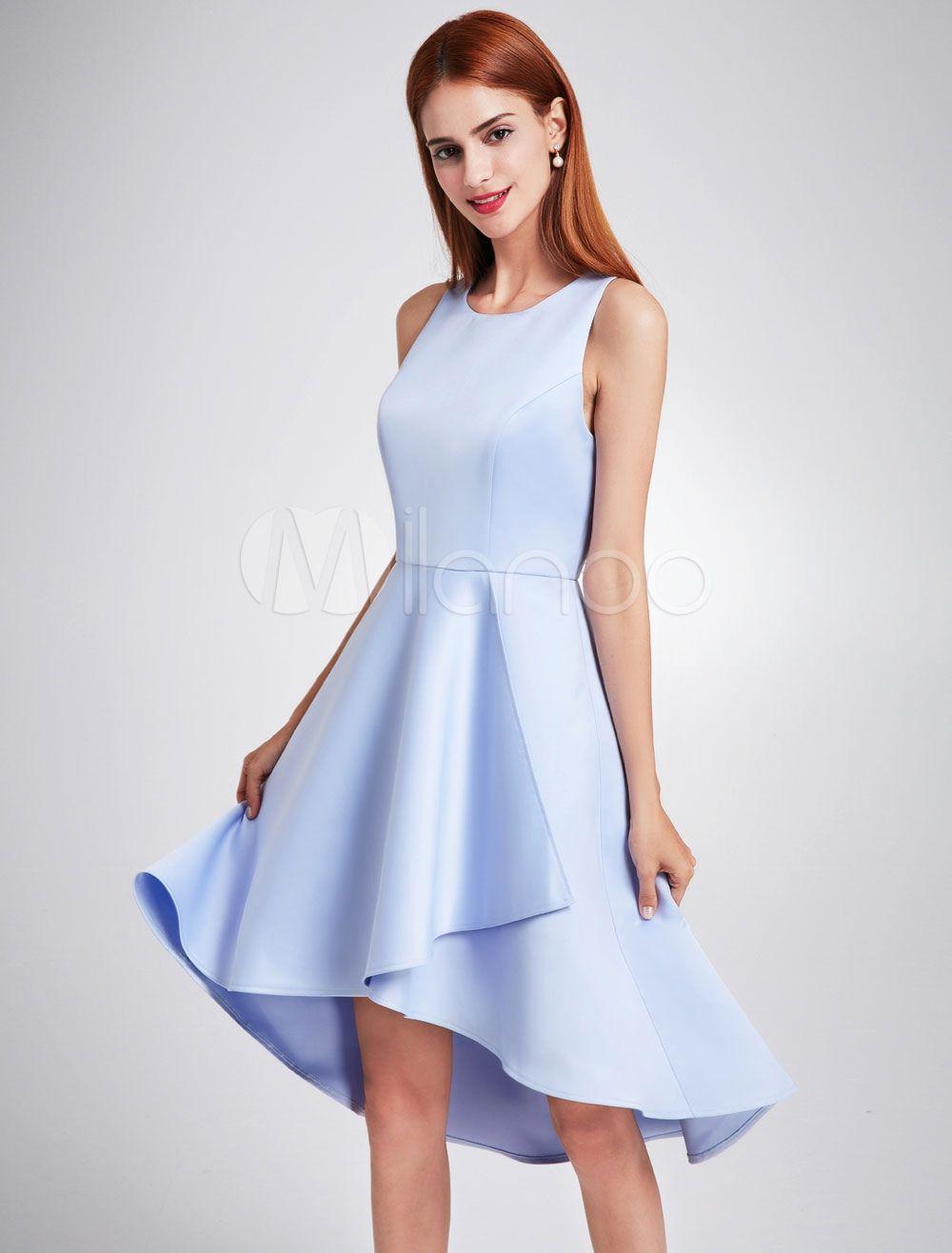 Kurze Brautjungfer Kleid Satingewebe mit Reißverschluss stufig und ...