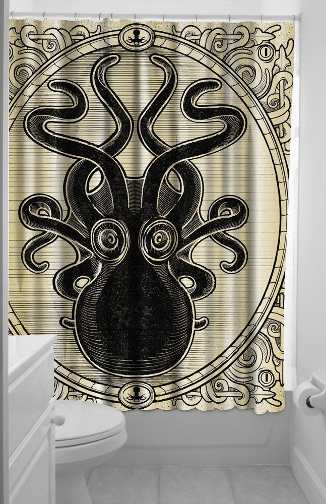 Sourpuss Tattoo Kraken Up Octopus Shower Curtain Rockabilly Pinup