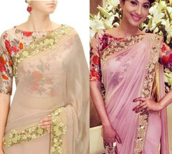 19c714a5363a2d it seems like traditional silk sarees and floral print blouses might not  really go with each other